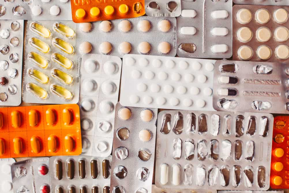 Photo of packets of pharmaceutical medicine