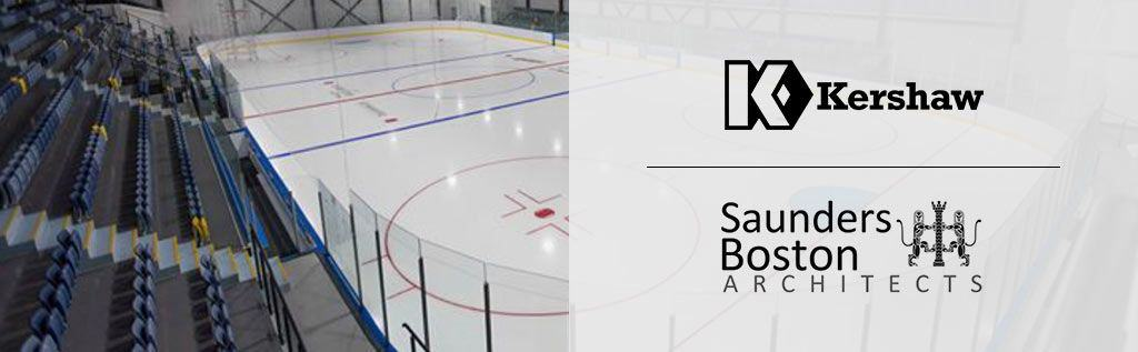 Ice rink and logos of Kershaw and Saunders Boston